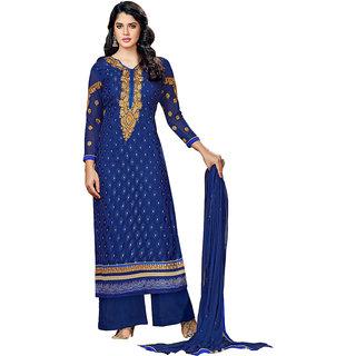 Dark Blue Plazo Style Salwar Kameez