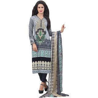 Latest Grey Black Cotton Casual Salwar Kameez