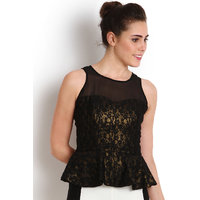 Soie Black Self Design Sleeveless Womens Peplum top