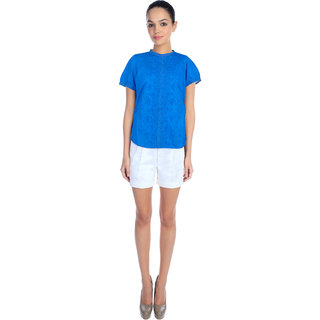 Blue Cotton Embroidered Top Shirt