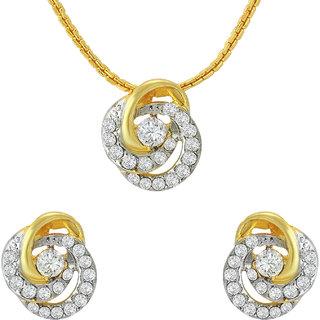 Mahi Crystal Floral Tripetal Gold Plated Pendant Set for Women NL1102711G