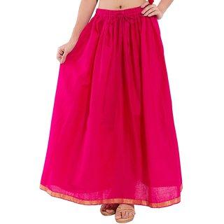 Decot Paradise Pink Color Plain Printed Regular Long Skirt For Womens
