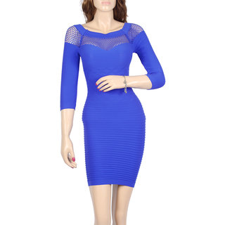 Blue Fitted smart Dress
