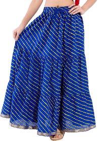 Decot Paradise Blue Color Lahriya Printed Cotton Regular Fit Long Skirt