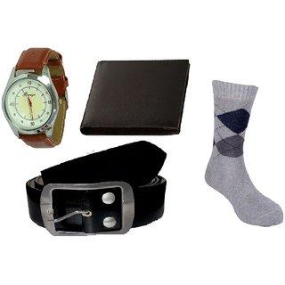 Combo of Brown Strap Watch, Wallet, Belt, Socks