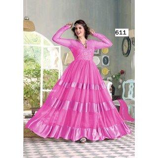 068b7934b0 Buy heer enterprise design New Gaun Pink Suit Dress Material Online ...