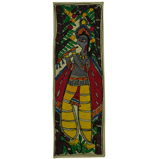 Craftuno Traditional Madhubani Painting Depicting Lord Krishna Playing Flute
