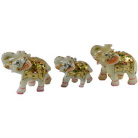 Craftuno Hand Painted Marble Elephant Family - Set Of 3