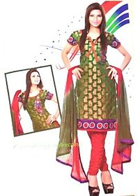Panache Green and Red Unstitched Dress Material with copper paisley design