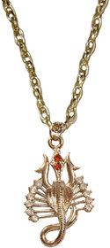 Men Style Silver shiva trishul with cobra  Chain Pendant