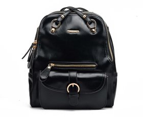 Diana Korr Black Casual Polyester Backpack DK33HBLK