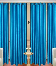 Geo Nature Eyelet  sky blue door Curtains size-4X7 set of 4 (4CR088)