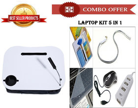 Special Offer! White Laptop Cushion Stand Tray + Laptop Kit 5 In 1 - CMLP1WKIT