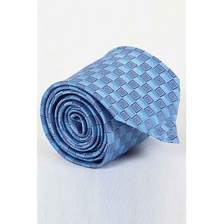 ST MARC Sky Blue Silk Printed Tie (MS68205618)