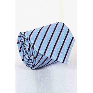 ST MARC Black and SKy Blue Silk Stripes Tie (MS68205624)