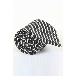 ST MARC Black and White Silk Stripes Tie ( MS68205655)