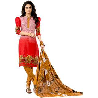 Drapes White And Red Cotton Printed Salwar Suit Dress Material (Unstitched)