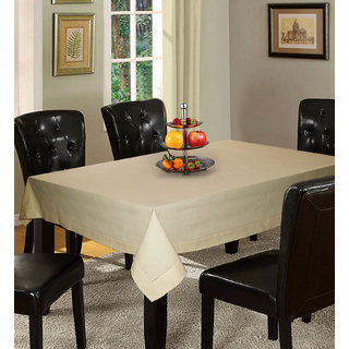 Lushomes Plain Ecru Holestitch Cotton for 4 Seater Beige Table Covers