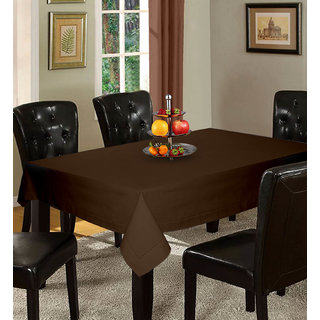 Lushomes Plain French Roast Holestitch Cotton for 4 Seater Brown Table Covers