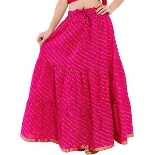Decot Paradise Pink Color Lahriya Printed Cotton Regular Fit Long Skirt