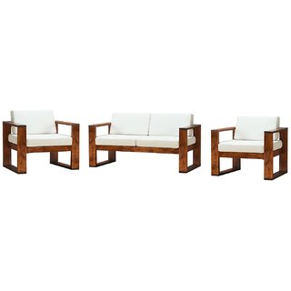 Buy Wood Sofa Set 2 1 1 With Cushion Without Cushion Cover Online