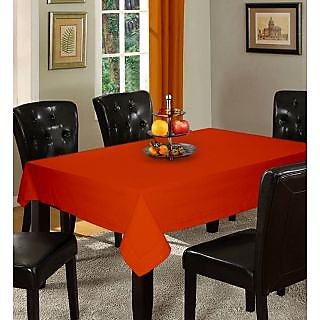 Lushomes Plain Red Wood Holestitch Cotton for 6 Seater Orange Table Covers