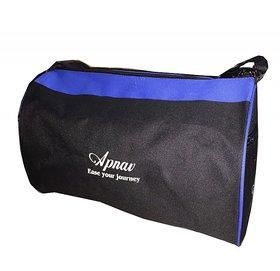 Apnav Black-Blue Drum-Shaped Gym Bag
