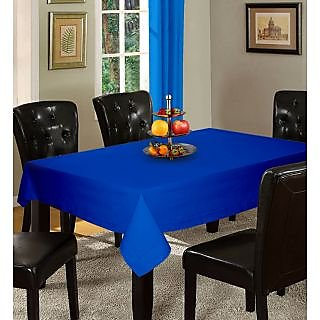 Lushomes Plain Sky Diver Holestitch Cotton for 6 Seater Blue Table Covers