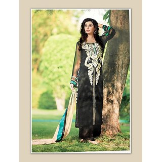 Thankar Black And Beige Embroidered Georgette Straight Suit (Unstitched)