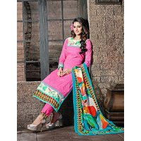 Thankar Pink And Multi Embroidered Cotton Jequard Straight Suit (Unstitched)