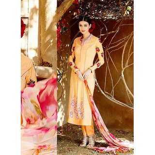 Orange Cotton Zari Embroidery Work Semi Stitched Straight Suit