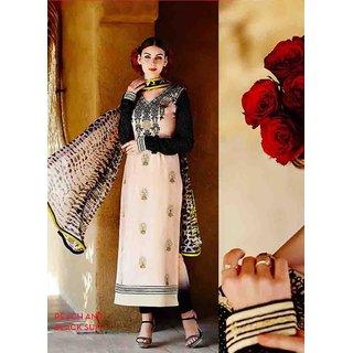 Beige Cotton Zari Embroidery Work Semi Stitched Straight Suit