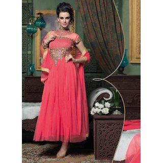 Orange Georgette Zari Embroidery Work Semi Stitched Anarkali Suit