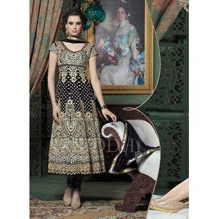 Black Georgette Zari Embroidery Work Semi Stitched Anarkali Suit