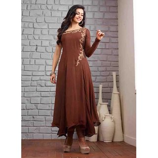 Brown Georgette Semi Stitched Anarkali Suit