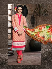 Thankar Peach, Pink And Off White Embroidered Cotton Straight Suit (Unstitched)