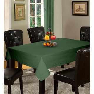 Lushomes Plain Vineyard Green Holestitch Cotton for 4 Seater Green Table Covers