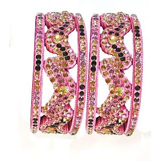 Beautiful Design Bangles Set In Pink Colour
