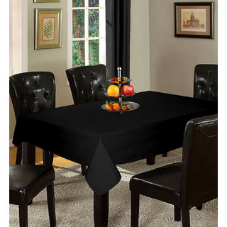 Lushomes Plain Pirate Black Holestitch Cotton for 6 Seater Black Table Covers