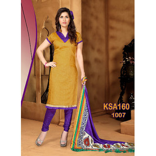 King Sales New Latest Gold and Purple Banarasi Printed Unstitched Dress Material