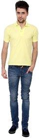 Grand Bear Men's Yellow  Cream Round Neck T-Shirt