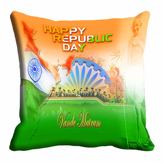 meSleep Happy Republic Day Cushion Cover (16x16)
