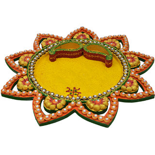Wooden  Paper Mache Star Kundan Pooja Thali With Kundan Work