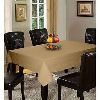 Lushomes Plain Sand Holestitch Cotton for 6 Seater Beige Table Covers
