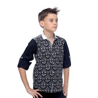 MashUp Premium Fabric Mix n Print Shirt For Boys.