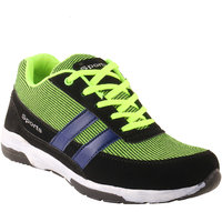 Shoe Island Trendy Black  Green Sport Shoes