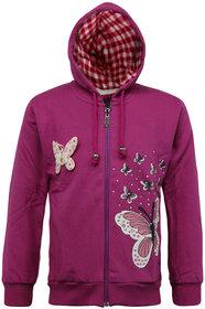 Kothari Girls Casual Red Fleece 60 Cotton 40 Polyester Sweatshirt