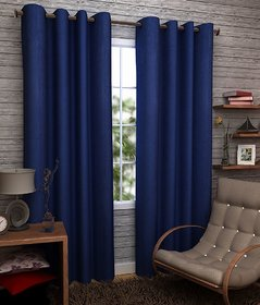 Geo Nature Eyelete blue single door Curtains size-4X7  (1CR016)