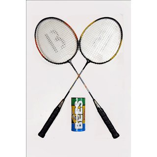 Bees Economy Badminton Racquet Set Of 2 With Pack Of 3 Shuttle