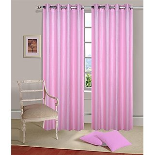 Geo Nature Eyelete pink single door Curtains size-4X7  (1CR021)